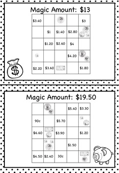 Australian Money Magic Squares Higher Order Thinking HOTS Grades 3 and 4