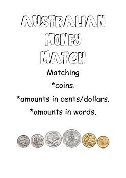 Australian Money Match Cards 5 cents to 1 dollar