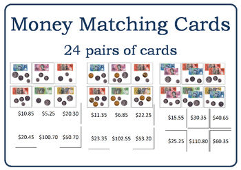 Australian Money Matching Cards 2