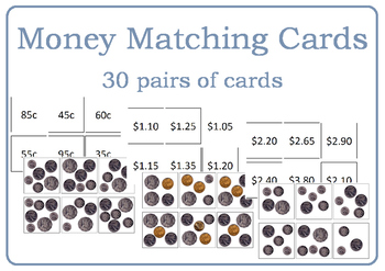 Australian Money Matching Cards