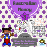 Australian Money Pack 3 ~ using different coin combinations to make same amount