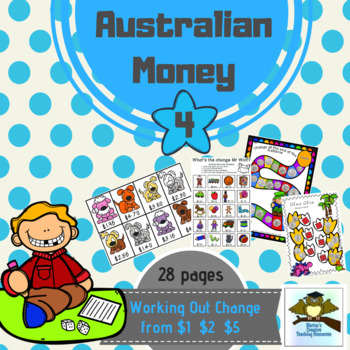 Australian Money Pack 4 ~ working out change from $1, $2 and $5