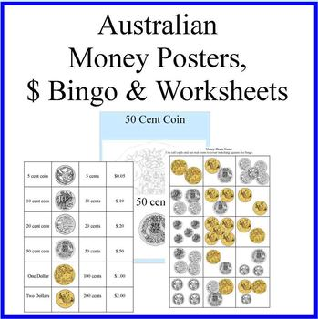 australian money posters money bingo and money worksheets tpt. Black Bedroom Furniture Sets. Home Design Ideas