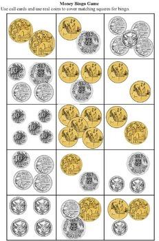 Australian  Money Posters,  Money  Bingo  and  Money Worksheets