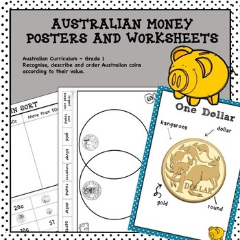 Australian Money Posters and Worksheets Higher Order Thinking HOTS Grade 1