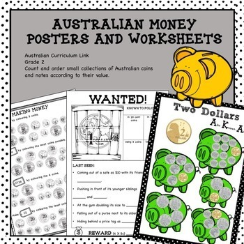 Australian Money Posters and Worksheets Higher Order Thinking HOTS Grade 2