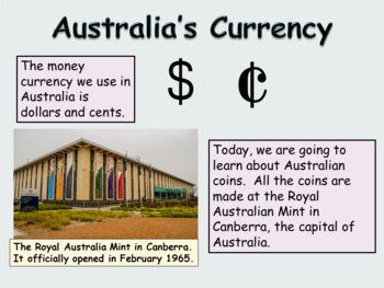 Australian Money Presentation Lesson Non-fiction Comprehension, Worksheets