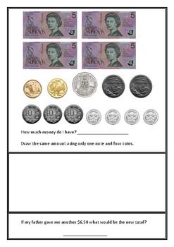 Australian Money Pretest - Grades 2-4