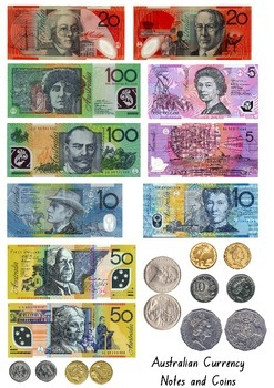 australian currency printables notes coins by njp on tpt tpt. Black Bedroom Furniture Sets. Home Design Ideas