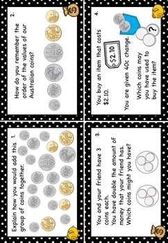 Australian Money Task Cards Higher Order Thinking FREE Taster