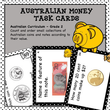 Australian Money Task Cards Higher Order Thinking HOTS Grade 2