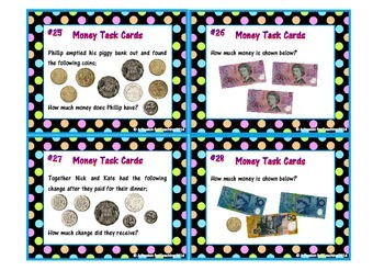 Australian Money Task Cards (Notes and Coins)