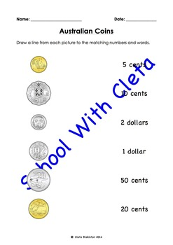 Australian Money (Coins): Summary / Test - Matching, Tracing, Cut & Paste