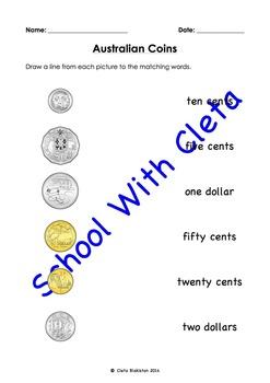 Australian Money (Coins): Summary / Test - Matching, Traci
