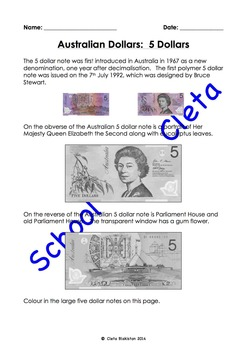 Australian Money (Dollar Notes): Their Images & Information About Them