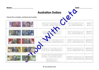 Australian Money (Dollar Notes): Summary/Test-Matching, Tracing, Cut & Paste