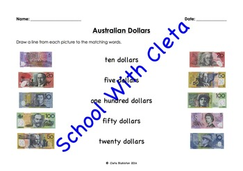 Australian Money (Dollar Notes): Summary/Test-Matching, Tracing, Cut & Paste