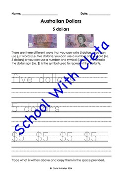 Australian Money (Dollar Notes): Trace & Copy Three Ways To Write Their Values