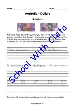 Australian Money (Dollar Notes): Trace & Copy Three Ways T