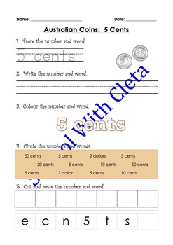 Australian Money (Coins): Trace, Write & Glue Their Values In Numbers & Words