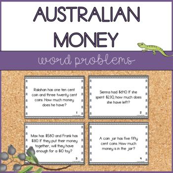 Australian Money - Word Problems - Task Cards
