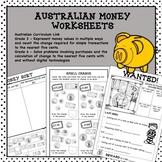 Australian Money Worksheets Higher Order Thinking HOTS Gra