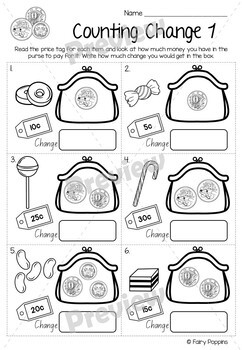 australian money worksheets years 1 3 no prep by fairy poppins. Black Bedroom Furniture Sets. Home Design Ideas