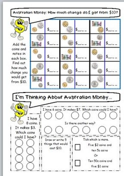 australian money worksheets year 3 4 by jbee educational resources. Black Bedroom Furniture Sets. Home Design Ideas