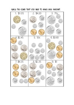 Australian Money worksheets and activities