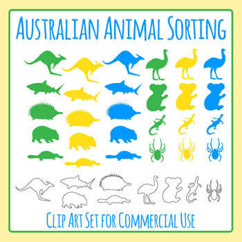 Australian Native Animals Sorting Clip Art for Commercial Use
