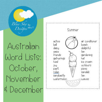 Australian November Words