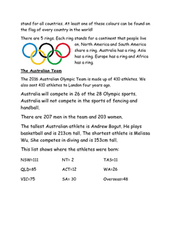 Australian Olympics Reading and Comprehension