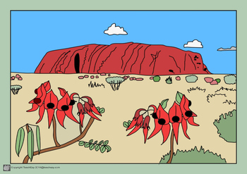 Australian Outback Colouring Pages and Pre-coloured