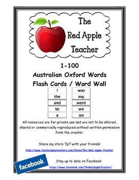 Australian Oxford Words 1-100 (1st set) Standard Font