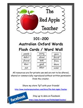Australian Oxford Words 101-200 (2nd set) Victorian Modern Cursive