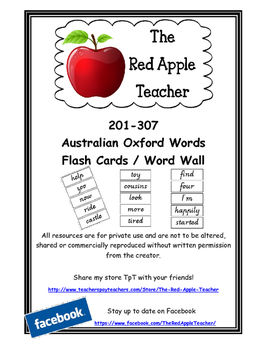 Australian Oxford Words 201-307 (3rd set) Victorian Modern Cursive
