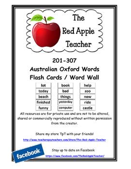 Australian Oxford Words 201-307 (3rd set) Standard Font