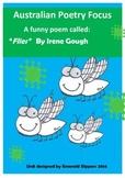 Funny Australian Poem Focus Flies! Comprehension/Worksheet