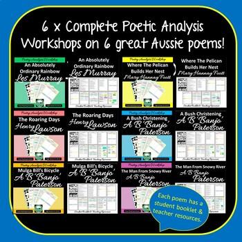 Australian Poetry Analysis BUNDLE Close Reading Poetry Worksheets 6 poems SET 2