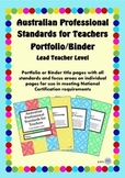 Australian Professional Standards for Teachers Binder/Folio- Lead Teacher Level