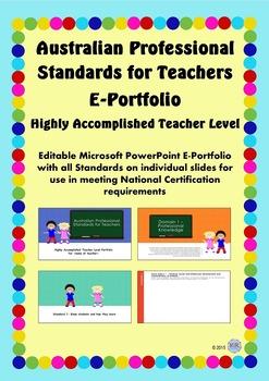 Australian Professional Standards for Teachers E Portfolio - Highly Accomplished