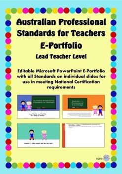 Australian Professional Standards for Teachers E Portfolio - Lead Teacher Level