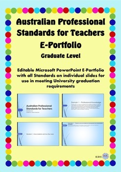 Australian Professional Standards for Teachers E Portfolio PPT - Graduate Level