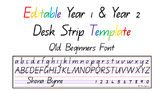 Australian Qld Font Year 1 & 2 Desk Strip Template. ACARA