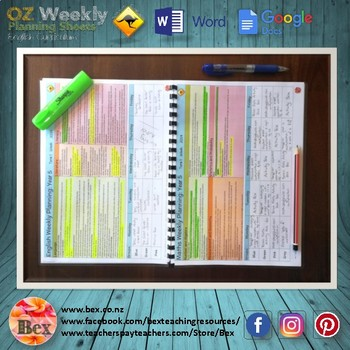 Australian Reading Weekly Planning Sheets - Year 1