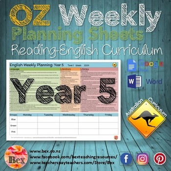 Australian Reading Weekly Planning Sheets - Year 5