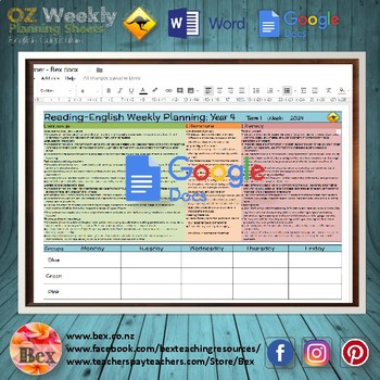 Australian Reading Weekly Planning Sheets - Year 7