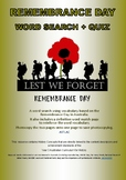Australian Remembrance Day Word Search and Quiz