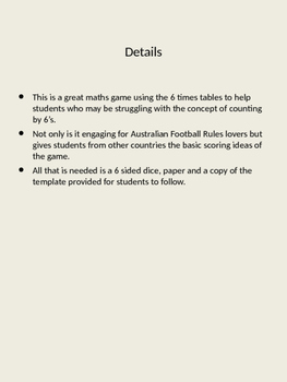 Australian Rules Maths Game