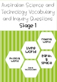 Australian Science Vocabulary and Inquiry Questions Stage 1